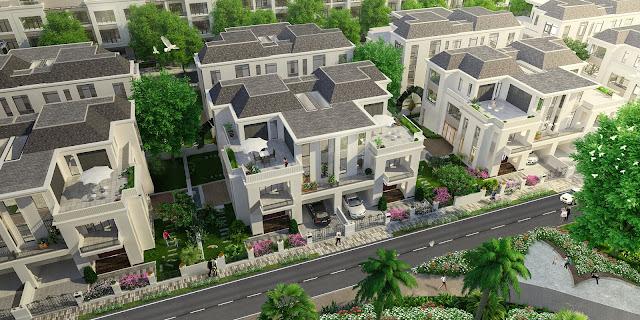 Phối cảnh thiết kế biệt thự song lập Louis City