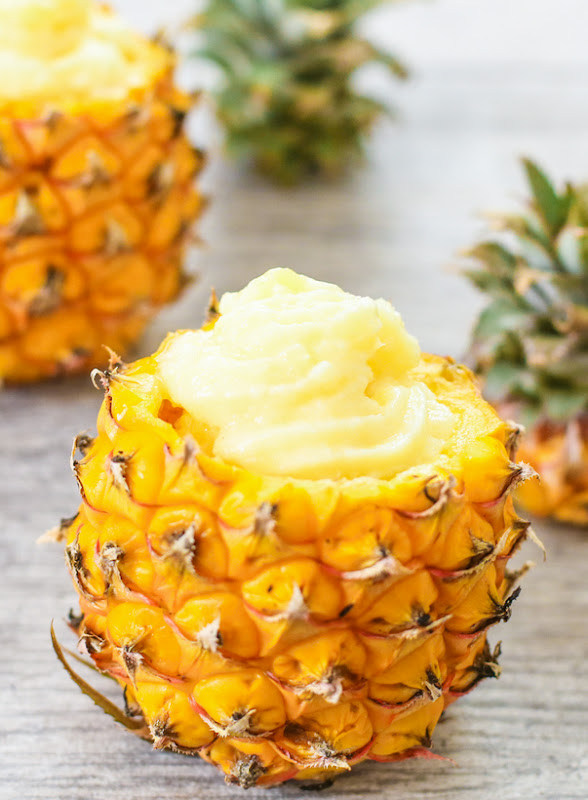 close-up photo of a Pineapple Dole Whip