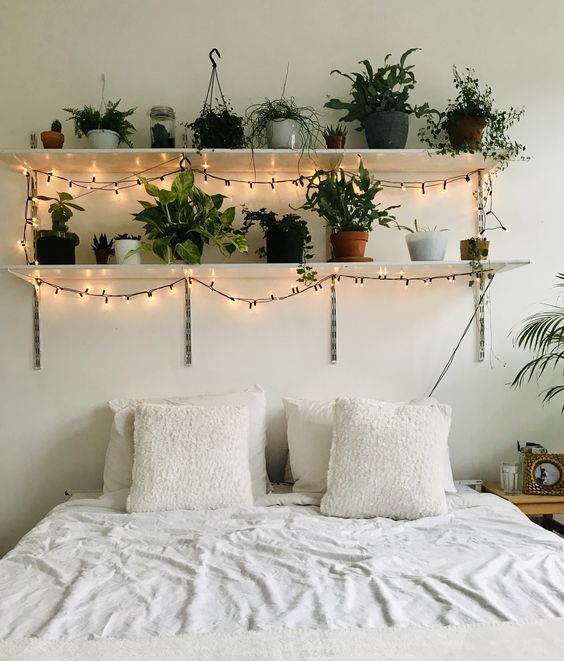 room plants lights white bohemian room decor