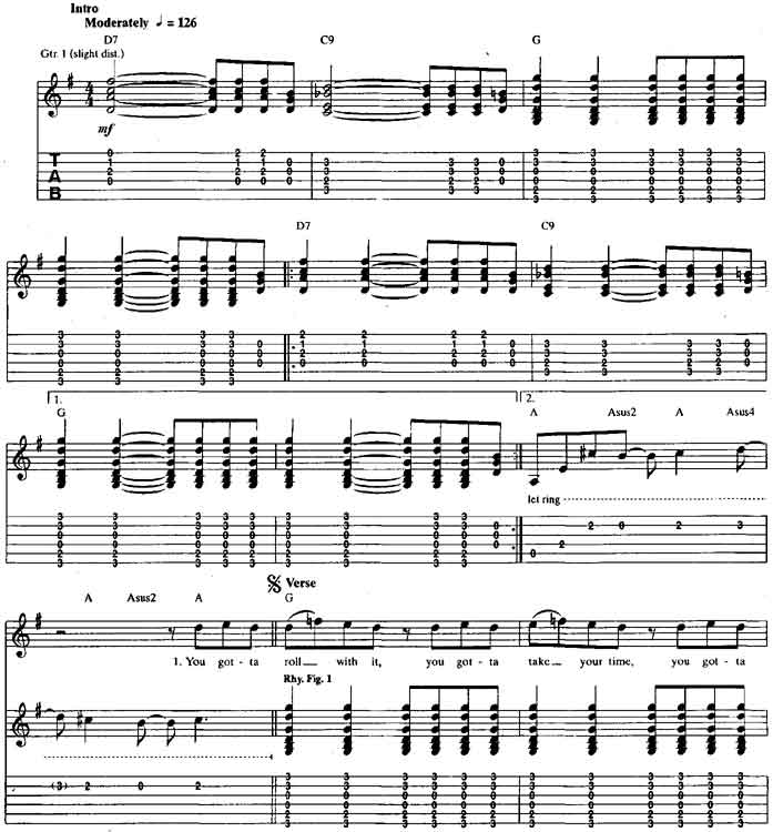 Oasis Roll With It guitar tabs