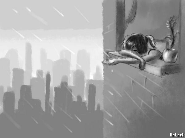 ảnh cô gái buồn trong mưa