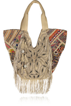 Antik Batik Aden Embroidered Fringe Cotton Tote Bag