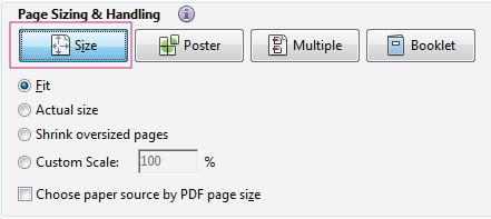 Adobe Reader print size options