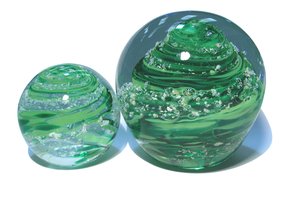 glass advertising paperweights