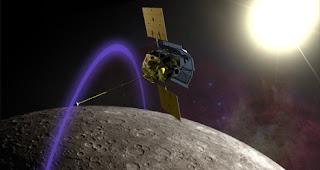 Ilustración artística que muestra a MESSENGER en órbita alrededor de Mercurio