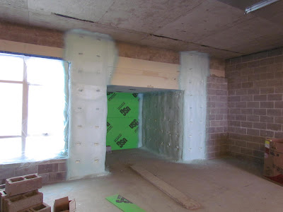 Foam insulation at doorway to courtyard