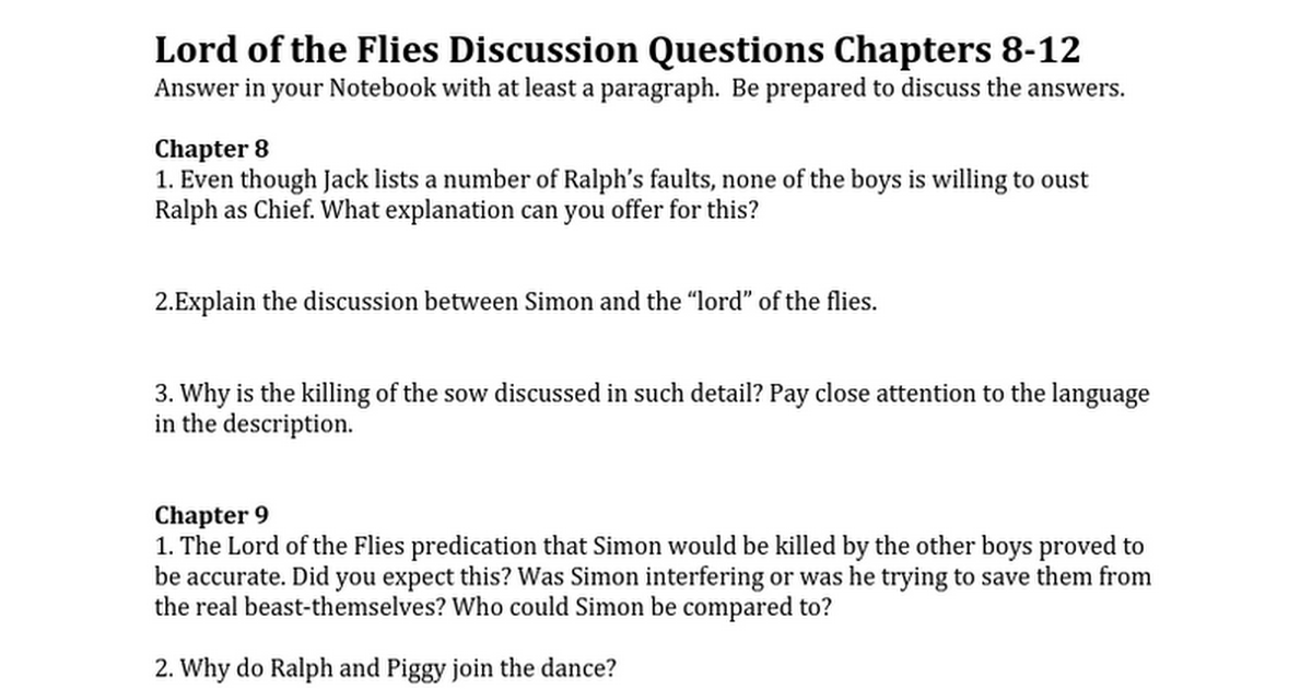 Lotf Discussion Questions Chapter 8 12 Google Docs