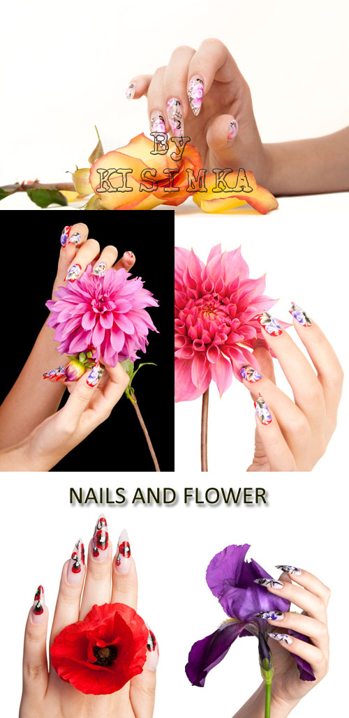 Stock Photo: Nails and flower