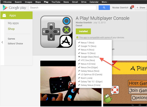Play Google Glass