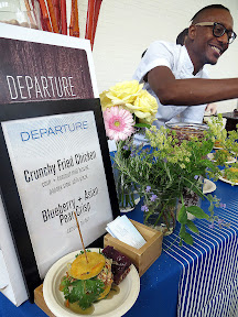 Portland Monthly's Country Brunch 2013, Departure's Gregory Gourdet serves up his Crunchy Fried Chicken with corn and coconut milk biscuit with papaya slaw and chili glaze, and a bonus of Blueberry + Asian Pear Crisp with candied ginger