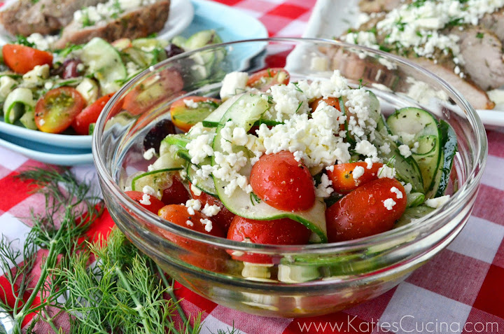 Entertaining this summer? No problem--make my easy recipe for Greek-Style Cucumber, Tomato, and Feta Salad