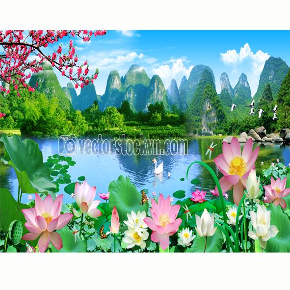 Tranh Dán Tường Phong Cảnh Sông Nước.
