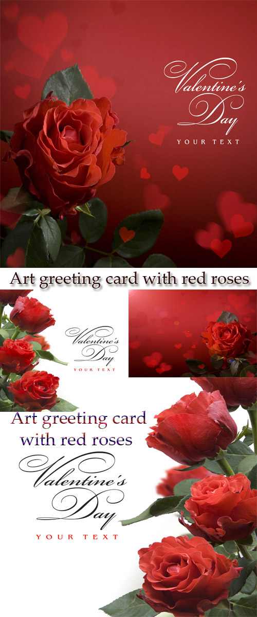 Stock Photo: Art greeting card with red roses