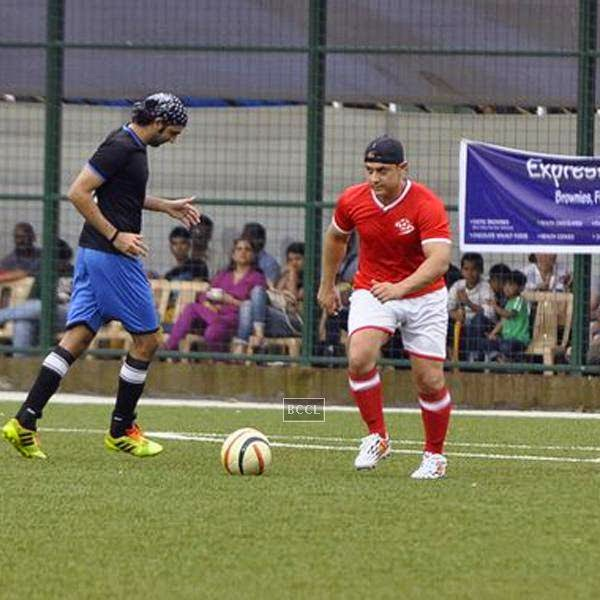 Aamir Khan during a charity soccer match organised by his Ira Khan, at Cooperage ground, on July 20, 2014.(Pic: Viral Bhayani)