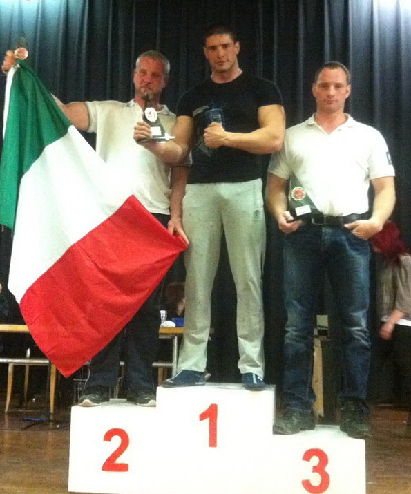 2. Davide Cappa, 1. Dmitry Trubin, 3. Silvan Bieli, +95kg podium - GLADIATOR'S NIGHT 13