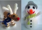 Reno-muñeco-nieve amigurumi