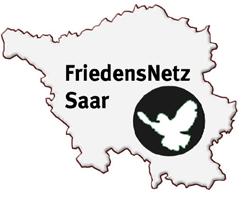 Grafik: Landkarte Saarland mit Friedenstaube: »FriedensNetz Saar«.