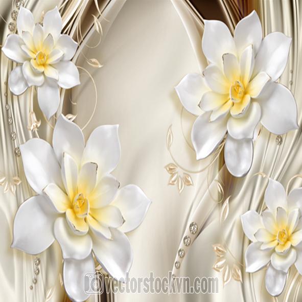 Tranh hoa 3D dán tường.