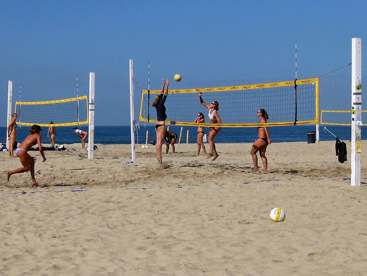 Volleyball at Hermosa Beach.  Walkabout Malibu to Mexico: Hiking Inn to Inn on the Southern California Coast