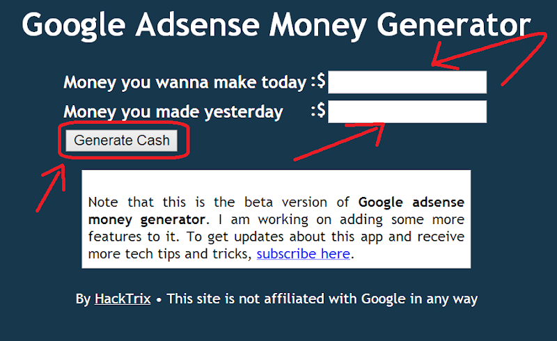 Fake Adsense Earning Page
