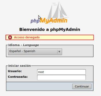 phpMyAdmin Acceso Denegado Ubuntu 9.04