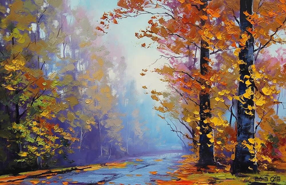 Testclod feuillage d 39 automne peinture huile au couteau - Peinture au couteau huile ...