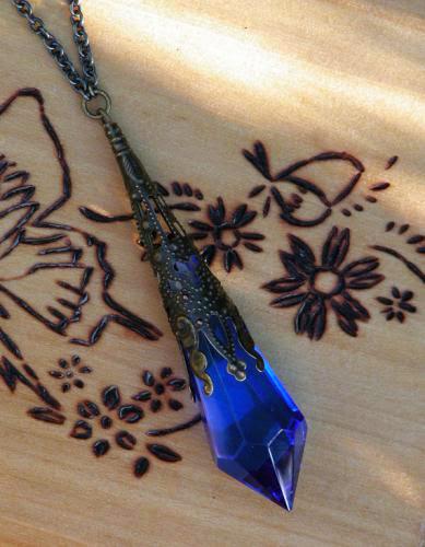 Kobold Swarovski Crystal Magickal Prism Divination Pendulum Necklace Bronze Filigree Pendant