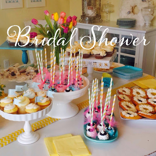 Spring bridal shower, yellow and turquoise bridal shower, party pail, the style sisters