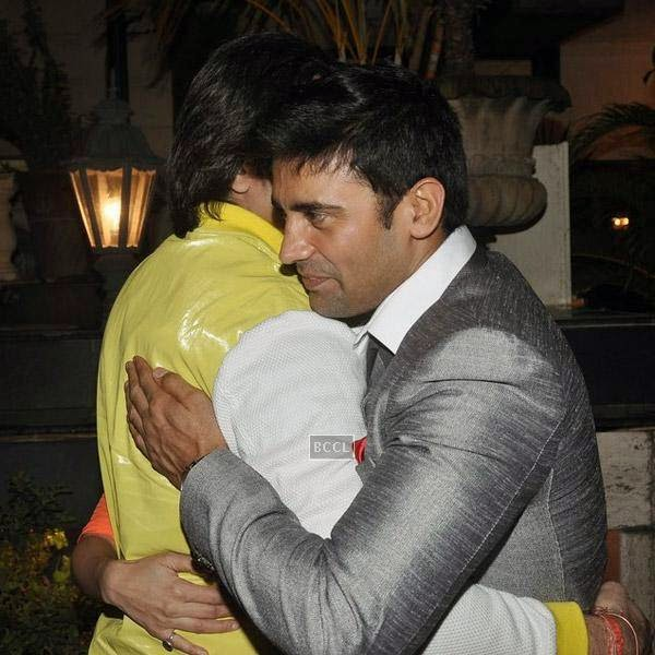 Armaan Kohli greets Sangram Singh during Sangram's birthday party, held at Churchgate, on July 20, 2014.(Pic: Viral Bhayani)