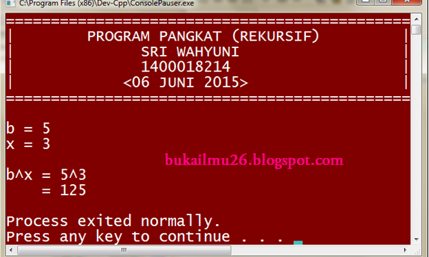 C++  PROGRAM PANGKAT (REKURSIF)