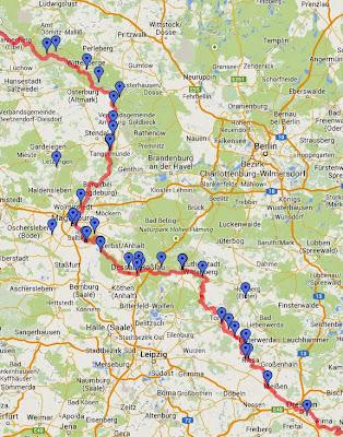 Karte Elberadweg