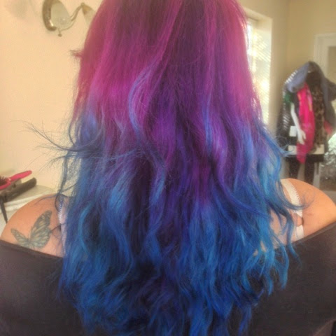 purple and blue hair wavy