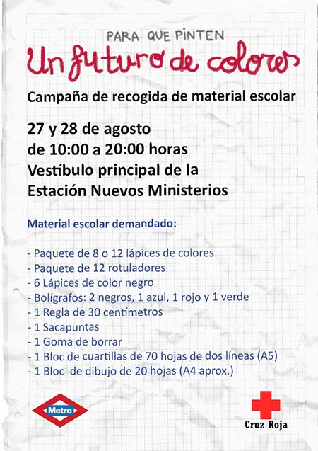 Campaña de recogida de material escolar en Metro Nuevos Ministerios los días 27 y 28 de agosto