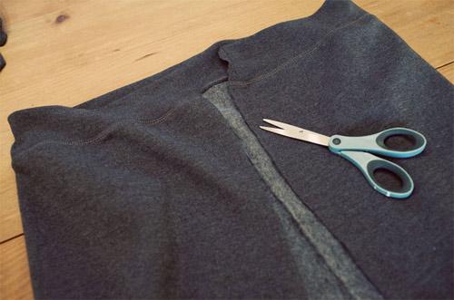 como transformar blusa de moletom em saia