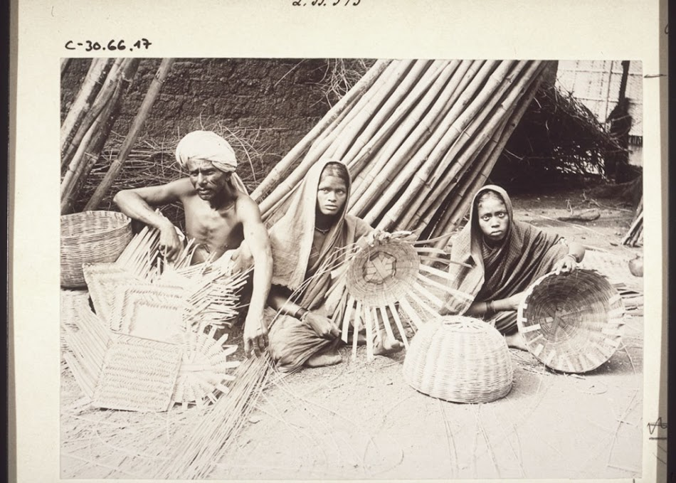 Weaving baskets and mats from bamboo, India  - BM Archives