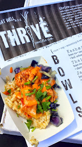 Eat Mobile 2014 - chicken thighs brined in Thrive Special sauce over brown rice and vegetables from Thrive Pacific NW