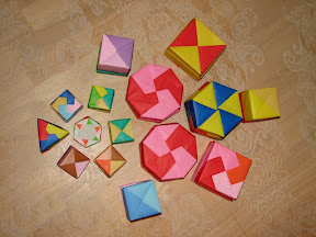 """Origami Boxes (top view) from Tomoko  Fuse's """"Origami Boxes""""."""