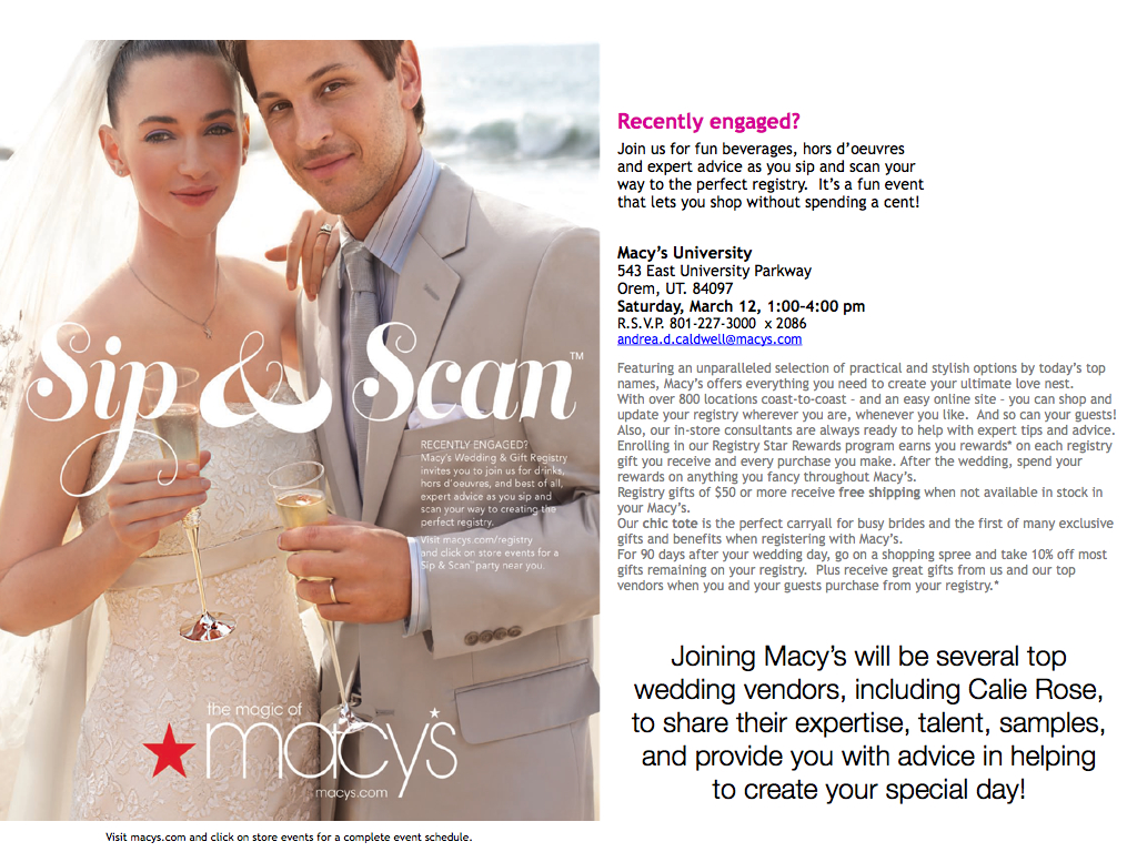 Calie Rose Utah S Top Wedding Vendors At Macy S Wedding Registry Event