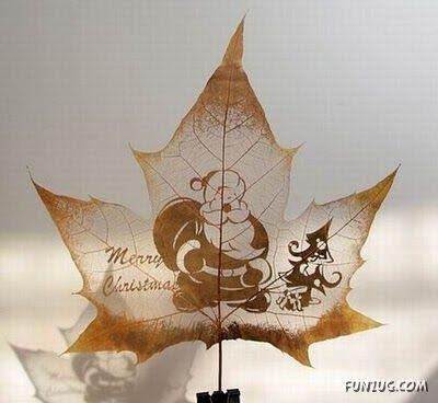 انقش صــورة تحــب الشجــر.. غاية الروعة leaf_painting_art_06