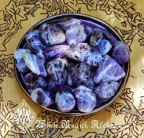 Amethyst Rare Crystal Tumbled Gemstones Pretty Banded Medium Set Of 2 By Whitemagickalchemy