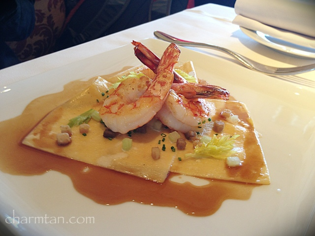 Main: Tiger Prawn a la Plancha and Carbonara Pasta in American Sauce