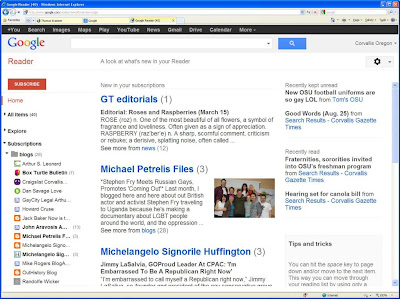 Google Reader home page set up for low vision reader Thomas Kraemer in Microsoft Internet Explorer window