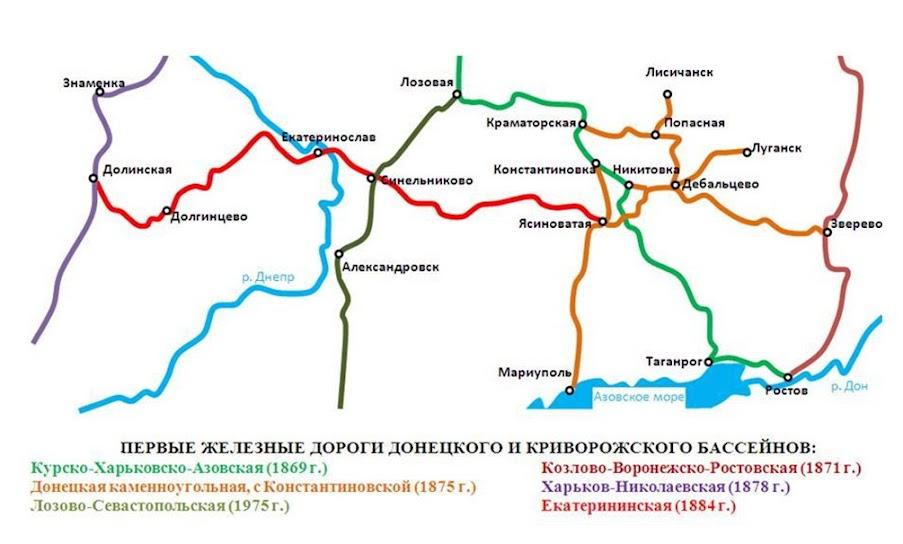 Схема основных железных дорог