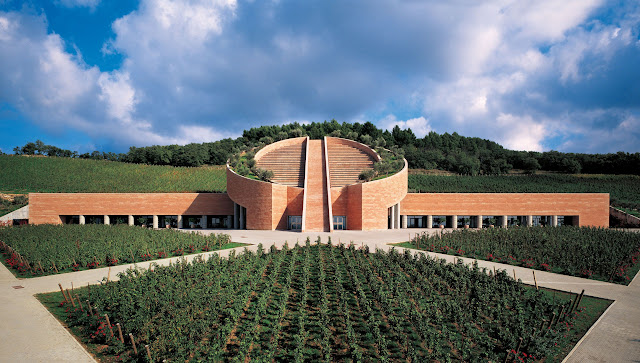 Petra Winery, Suvereto, Tuscany. The wine cellar by Swiss architect Mario Botta