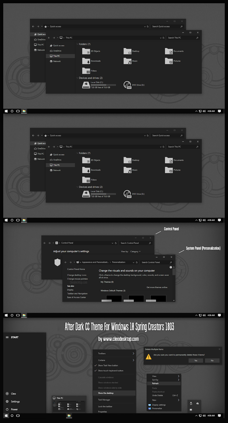After Dark CC Theme For Windows10