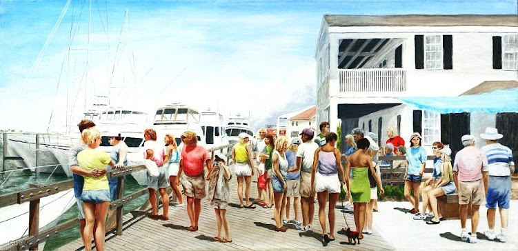 An original traditional-modern oil painting, Beaufort, North Carolina, on the dock.