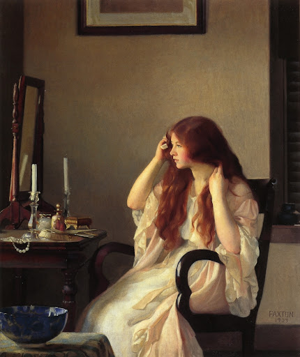William McGregor Paxton - Girl Combing Her Hair