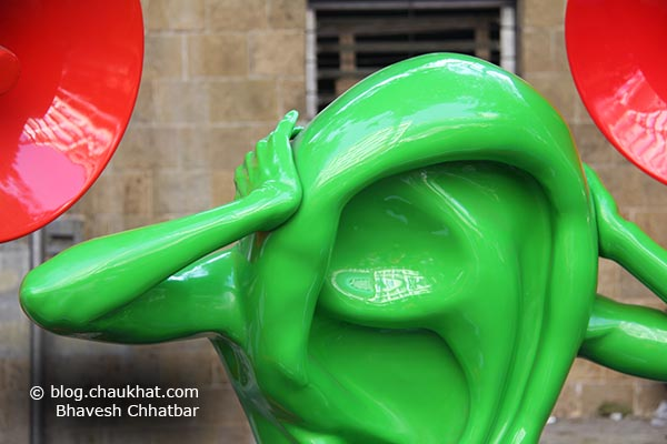 Stop sound pollution. An ear sculpture at Kala Ghoda expressing the situation very well.