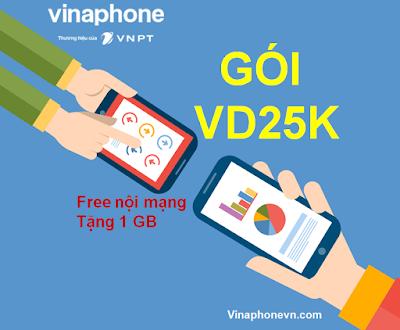 Miễn phí Gọi, tặng 1GB Data chỉ 2.500đ với gói cước VD25K Vinaphone