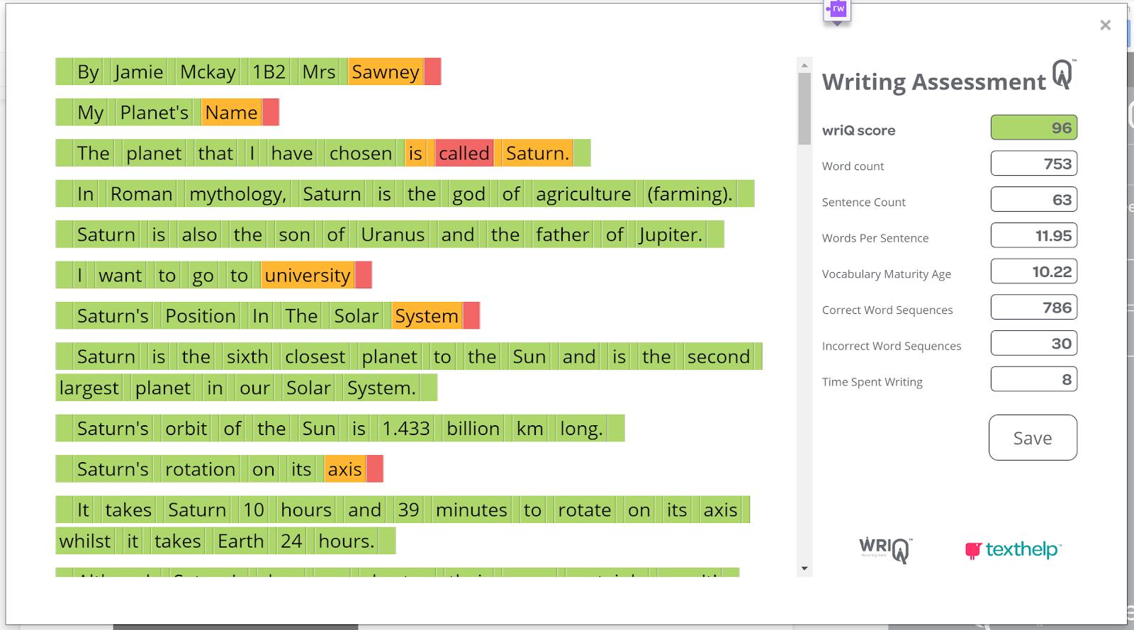 Scoring a passage with WriQ